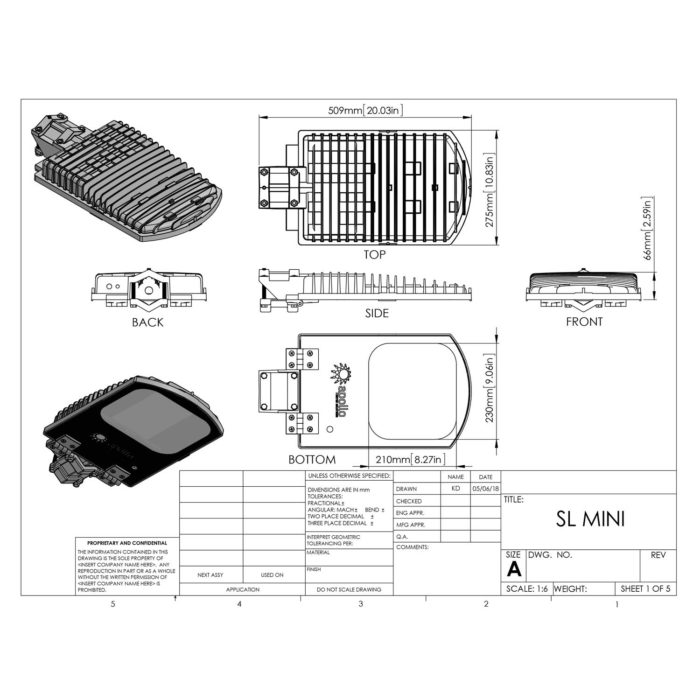 SL5 Mini LED Street Light Cut Sheet - Apollo Metro Solutions